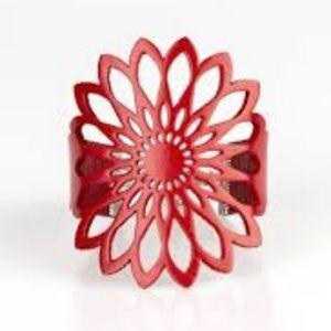 Wildly Wildflower - Red Leather Bracelet